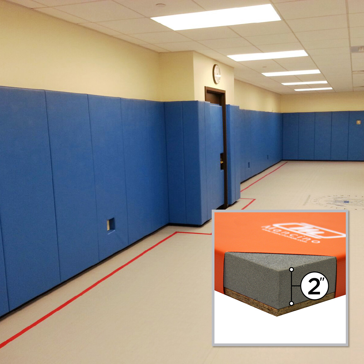 US probations room with padding for exercise champion blue