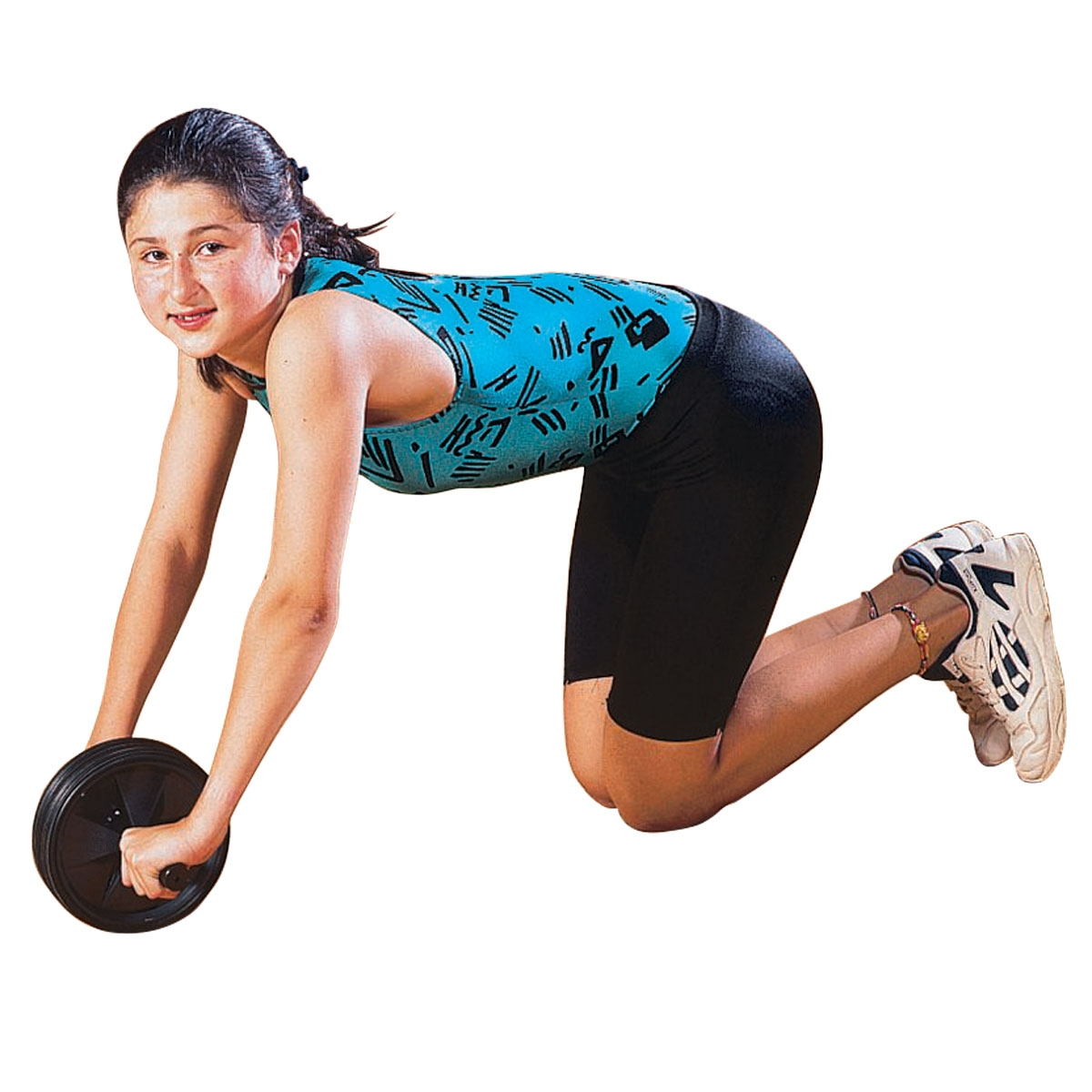 girl using an ab roller wheel for core exercises