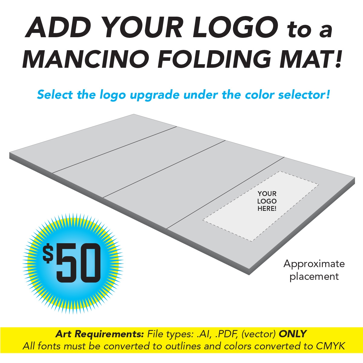 promote your gym brand with mancino by adding you gym logo to a mancino folding mat