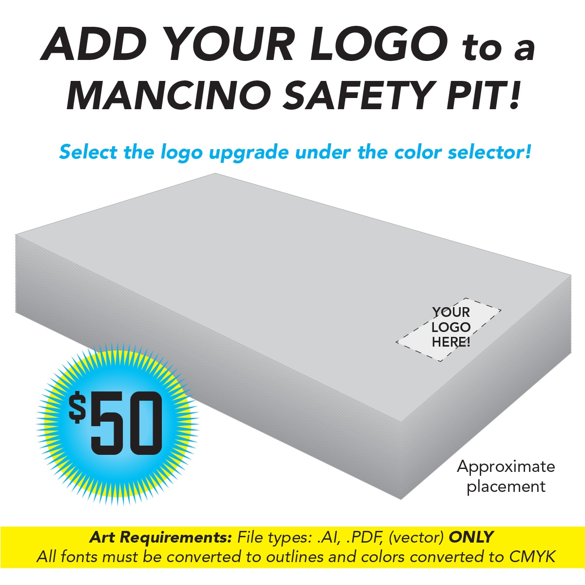 customize your rock climbing, gymnastics, cheer or acrobatics gym with mancino graphics options