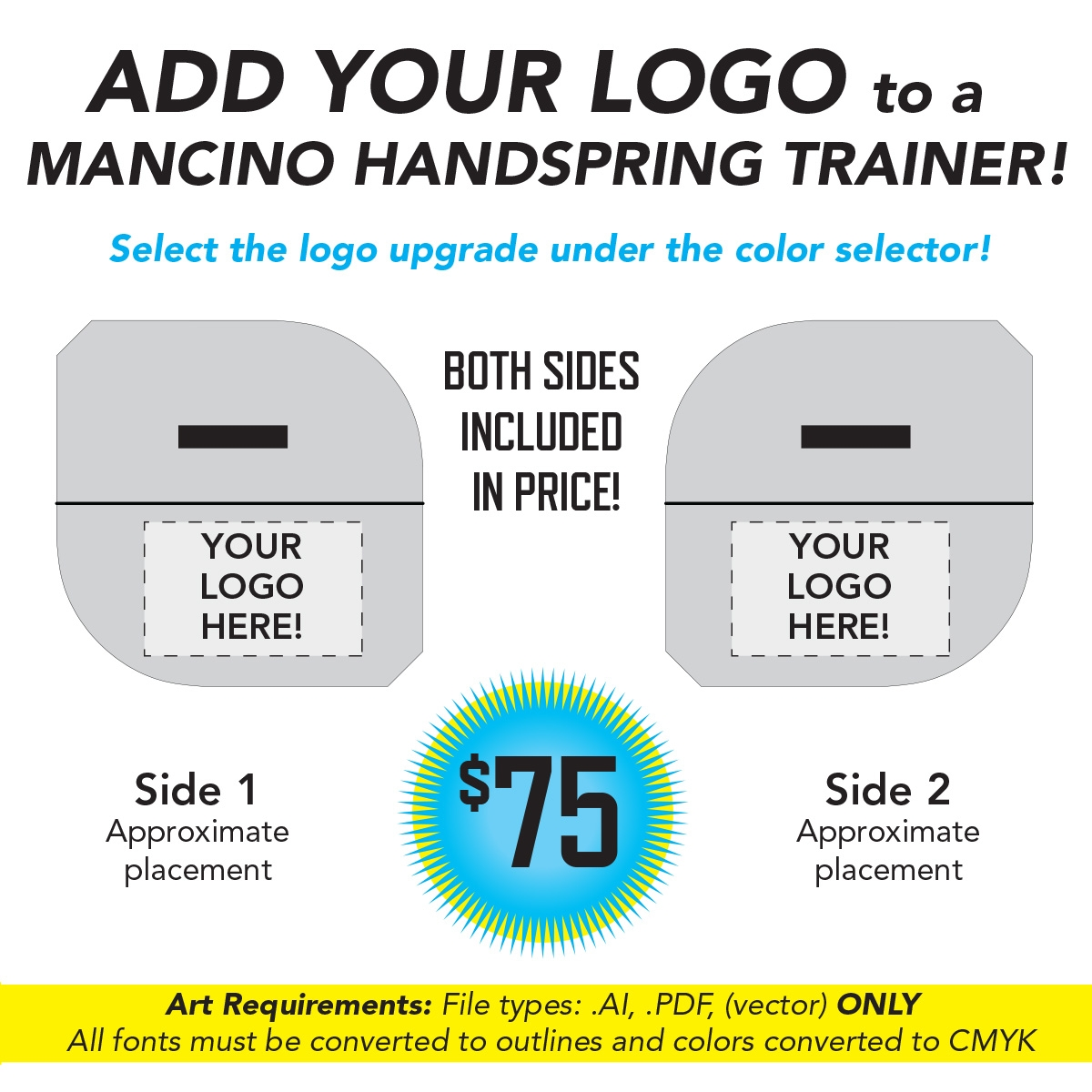 add your gym logo and brand to a mancino tumble trainer - mancino mats - handspring trainers