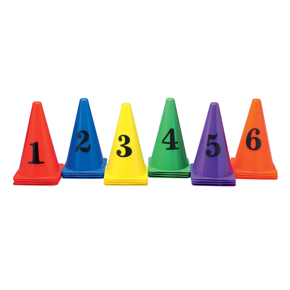 colorful cones 1-6 with numbers on the side