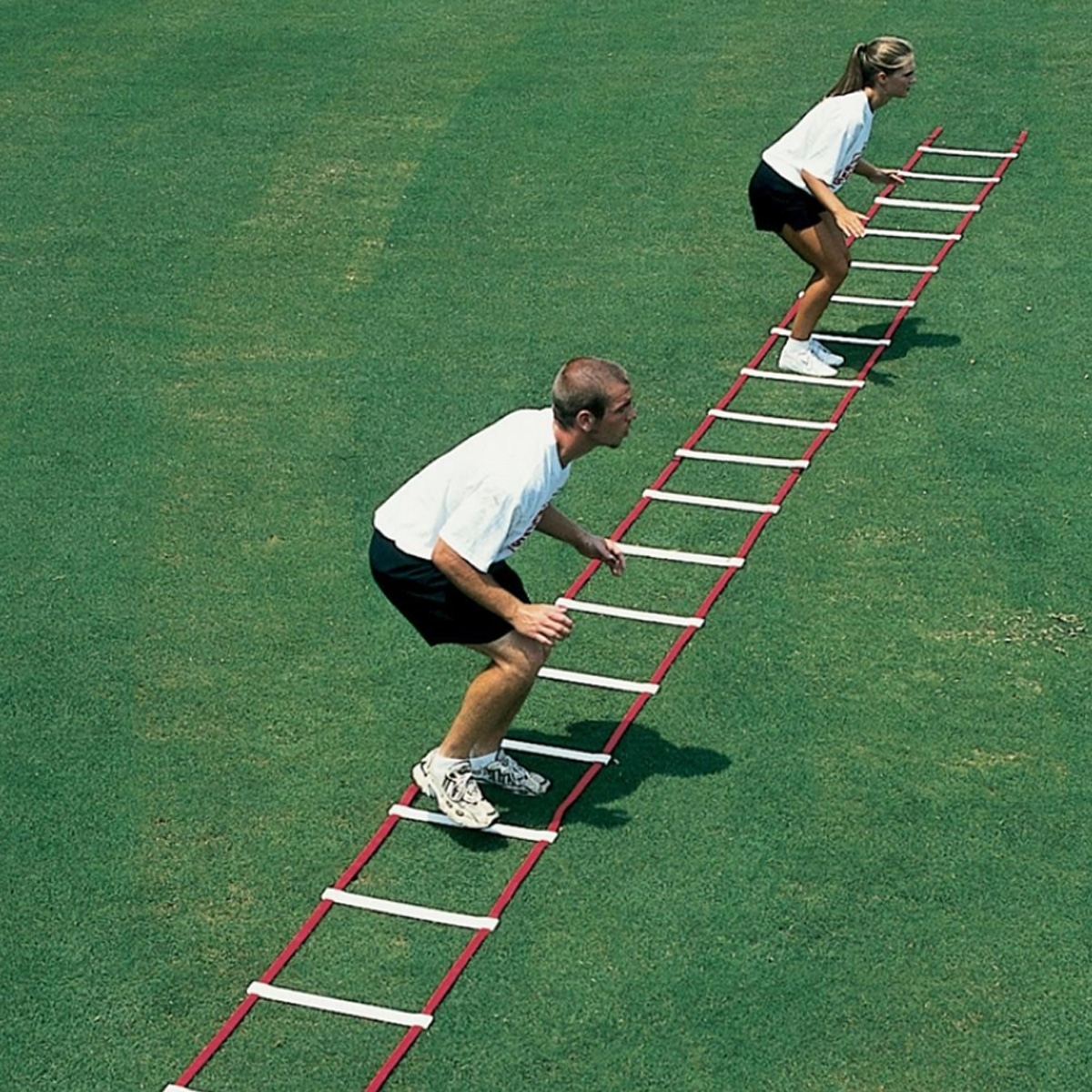 agility drill and footwork ladder on grass field