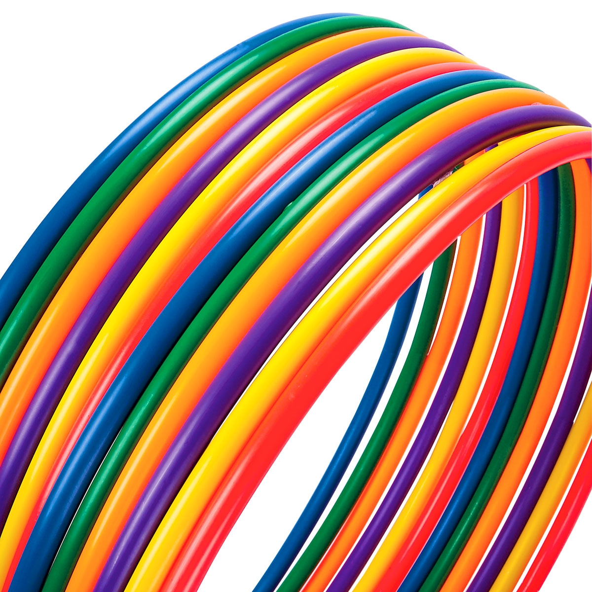 assorted colors of deluxe hula hoops