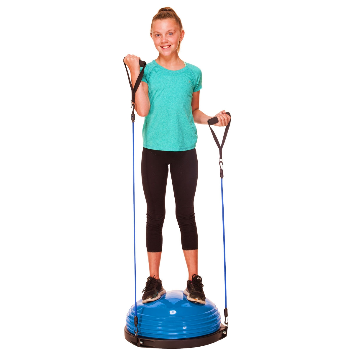 girl standing on blue balance dome trainer curling arm exercises