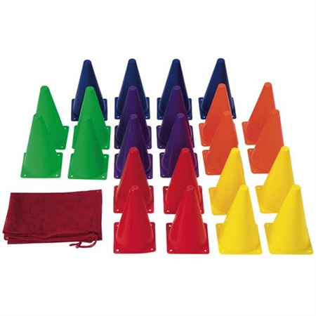 set of 24 colorful agility cones