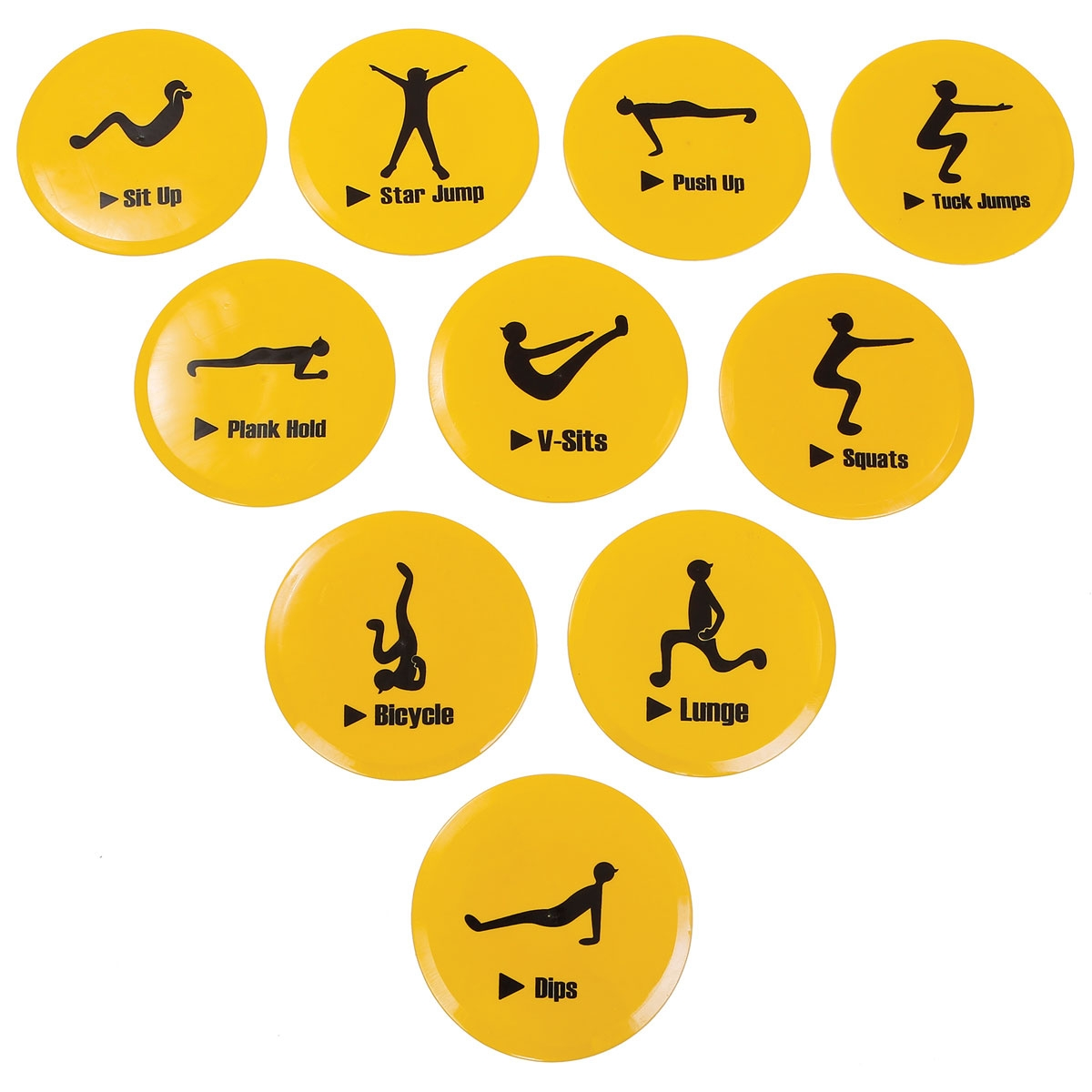 10 yellow exercise circuit spot markers set | mancino mats
