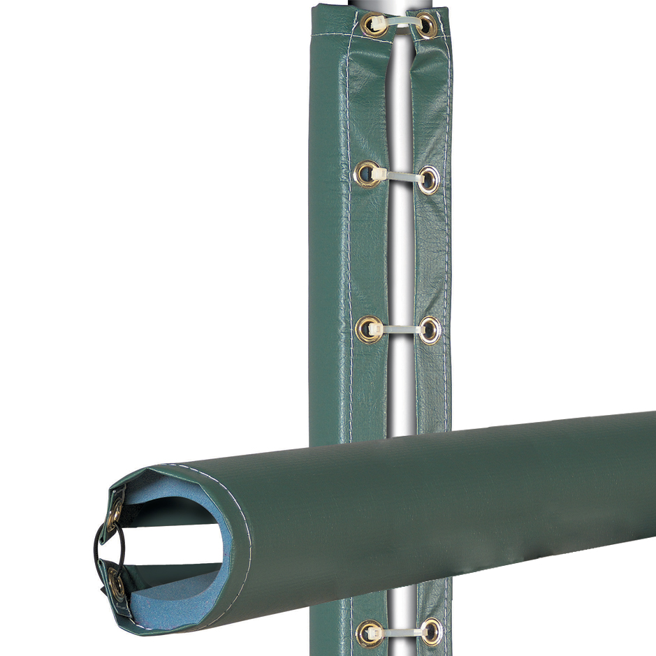 Flexible Rail-Top Fence Padding secures with grommets and zip-ties