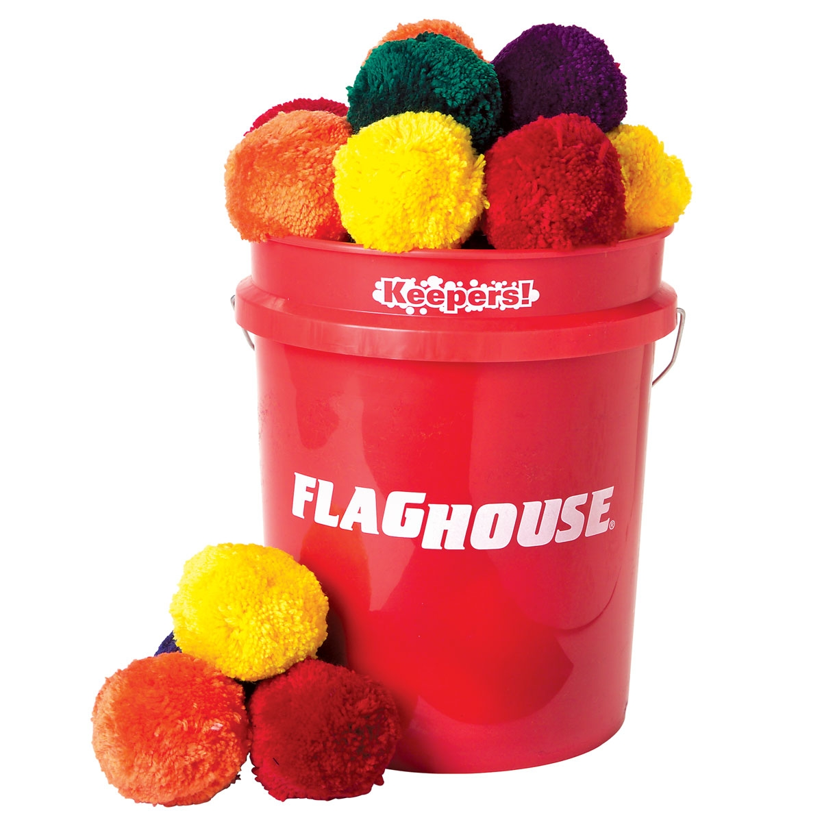 set of 48 colorful fleece balls in a red storage bucket | mancino mats