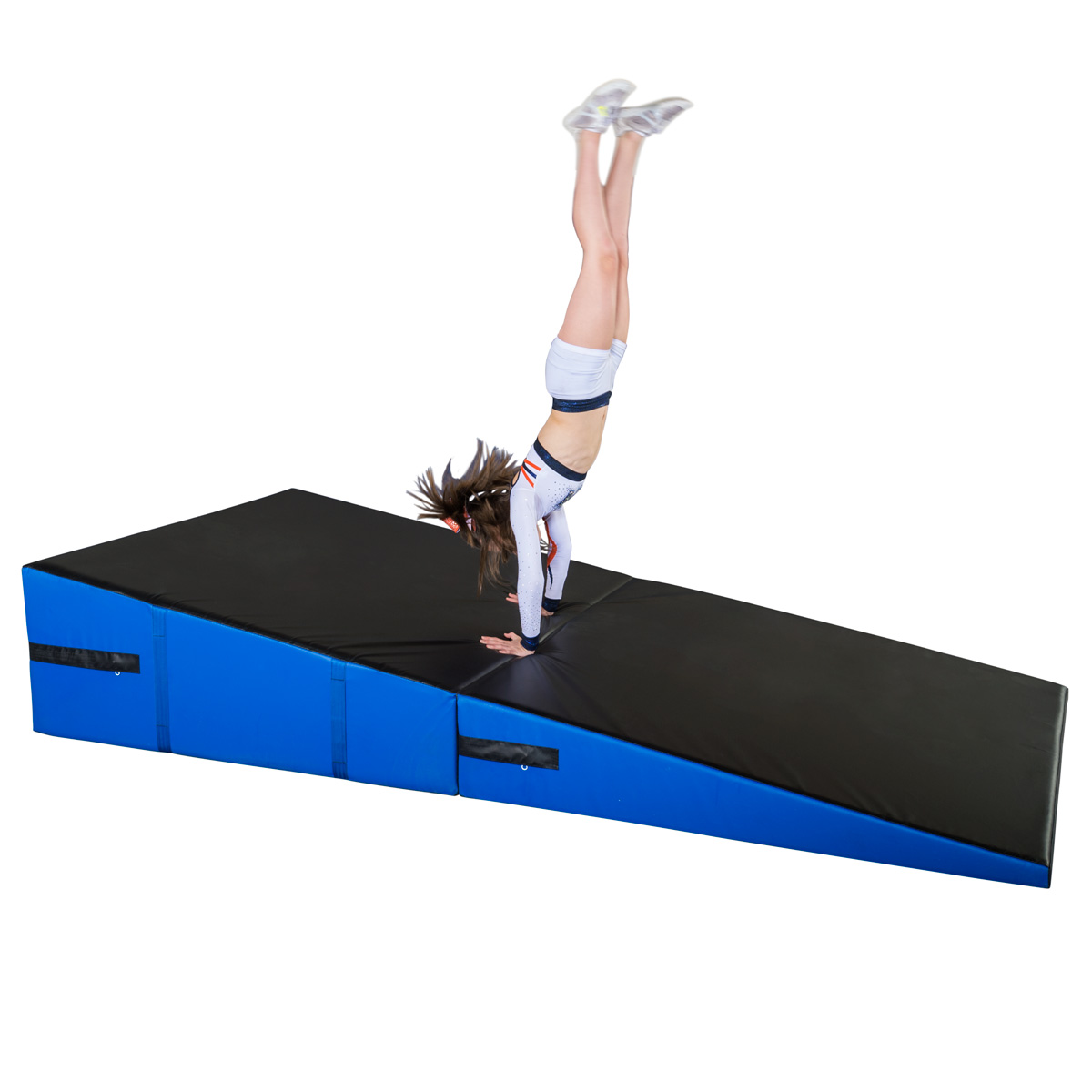 cheerleader doing a front round-off on large folding incline mat from mancino