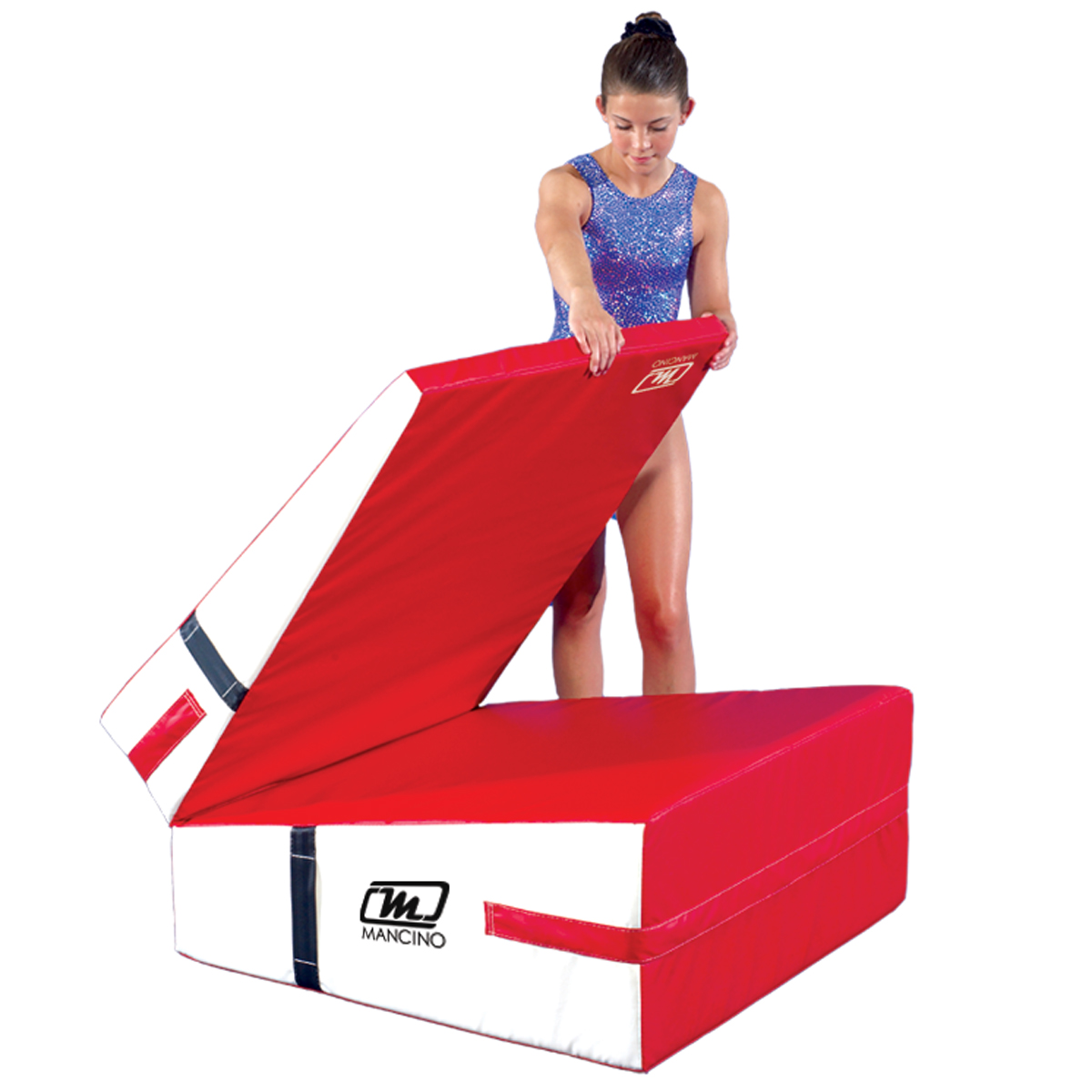gymnast folding a red and white folding incline ramp mat - cheese wedge mats - mancino mats