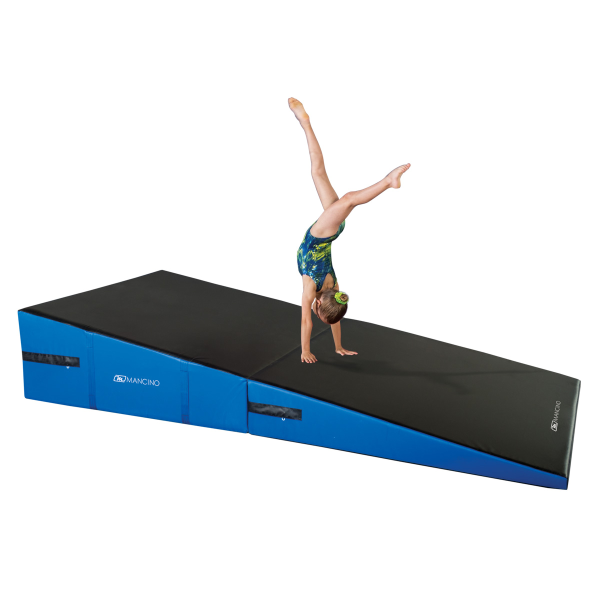 gymnast doing a front handspring on large folding ramp cheese wedge mat - mancino mats - cheese wedge mats