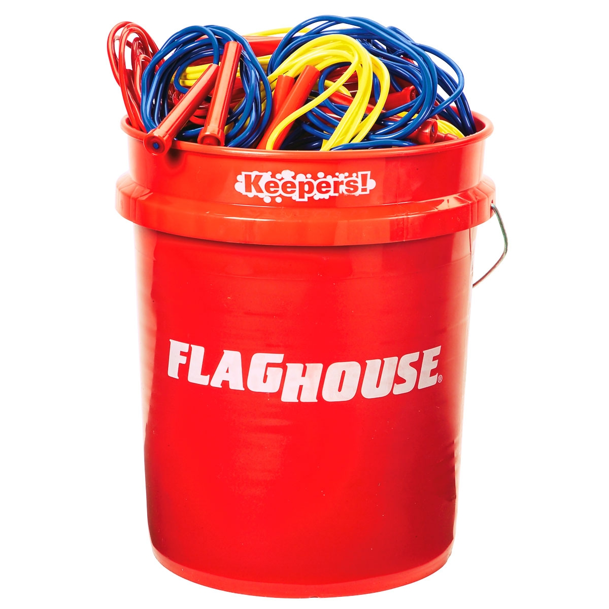 50 jump speed ropes set in a big red bucket