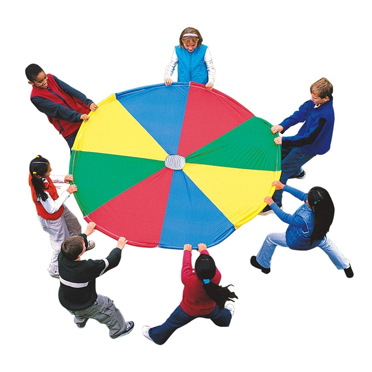 small gym parachute with a small group of students