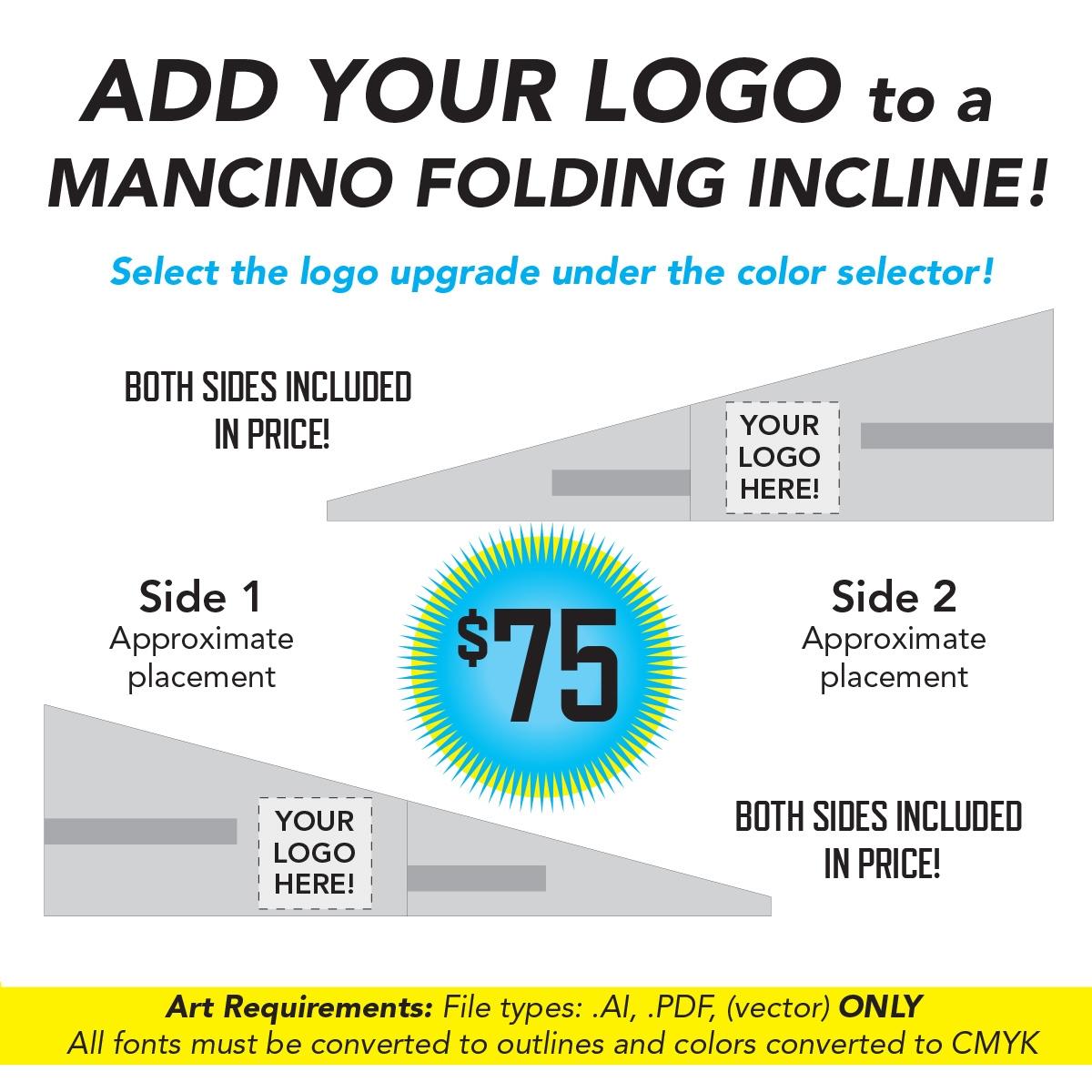 add your logo to a mancino incline mat - mancino mats - folding incline cheese wedge mats