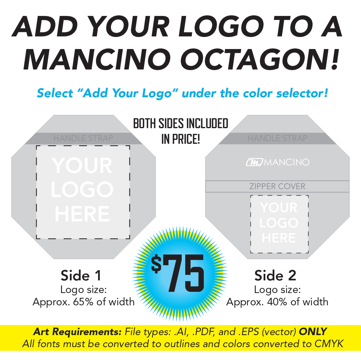 add your logo to a mancino cheer octagon mat