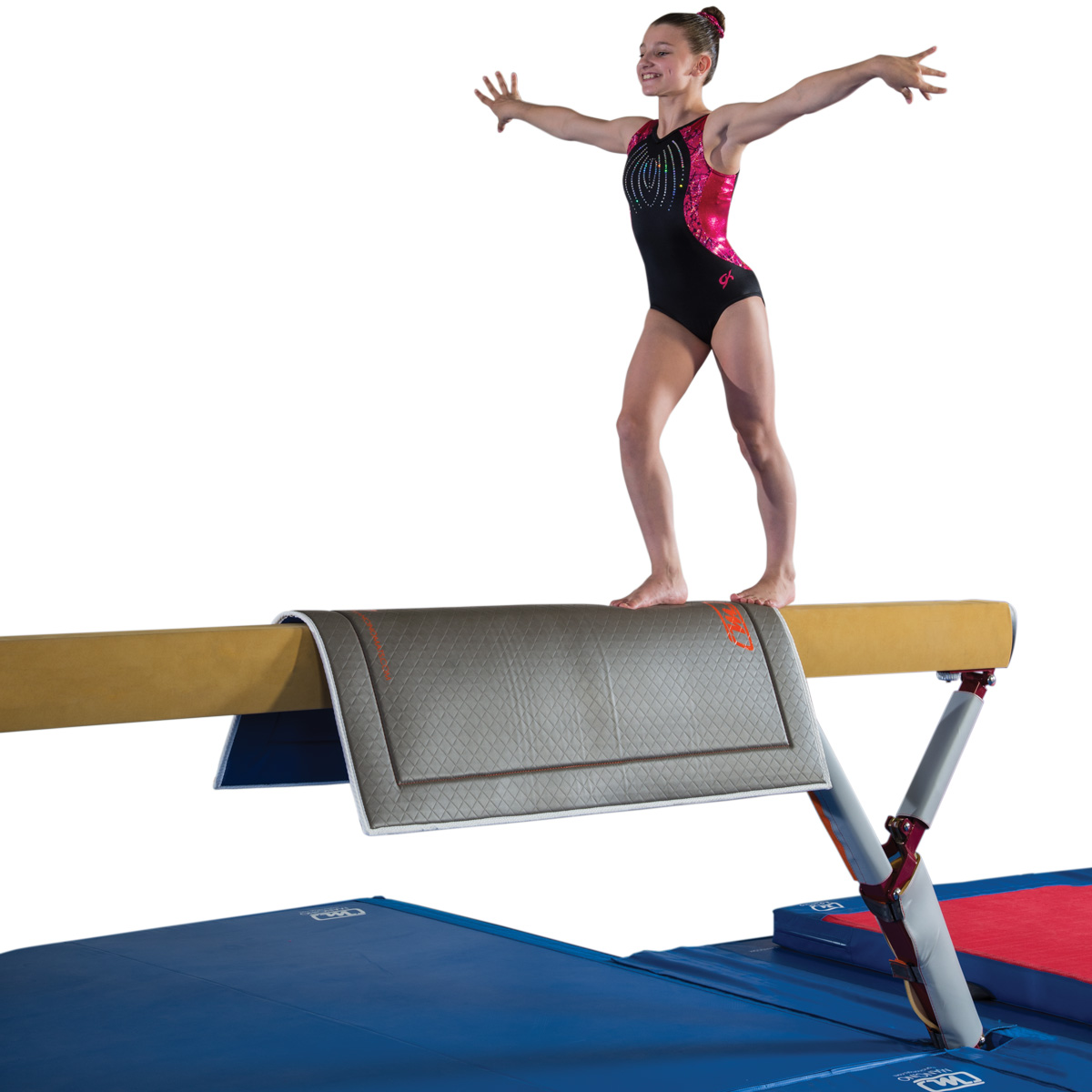 mancino beam throw pad with gymnast