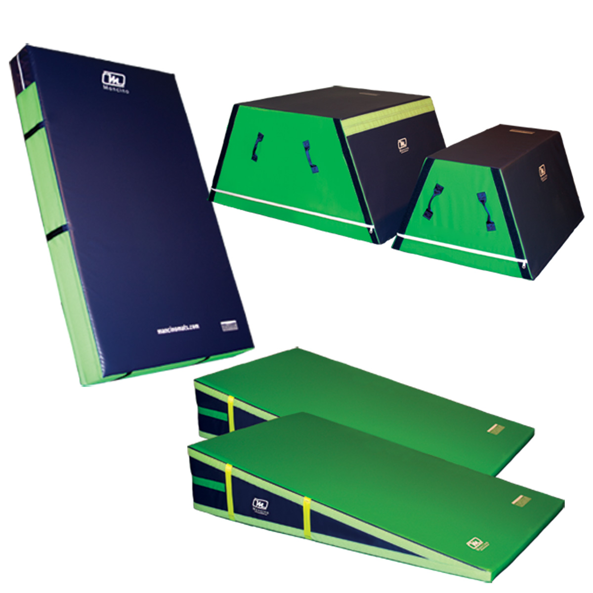 """Mancino Big Hill Detail of all 5 pieces trapezoids, inclines and an 8"""" skill cushion"""