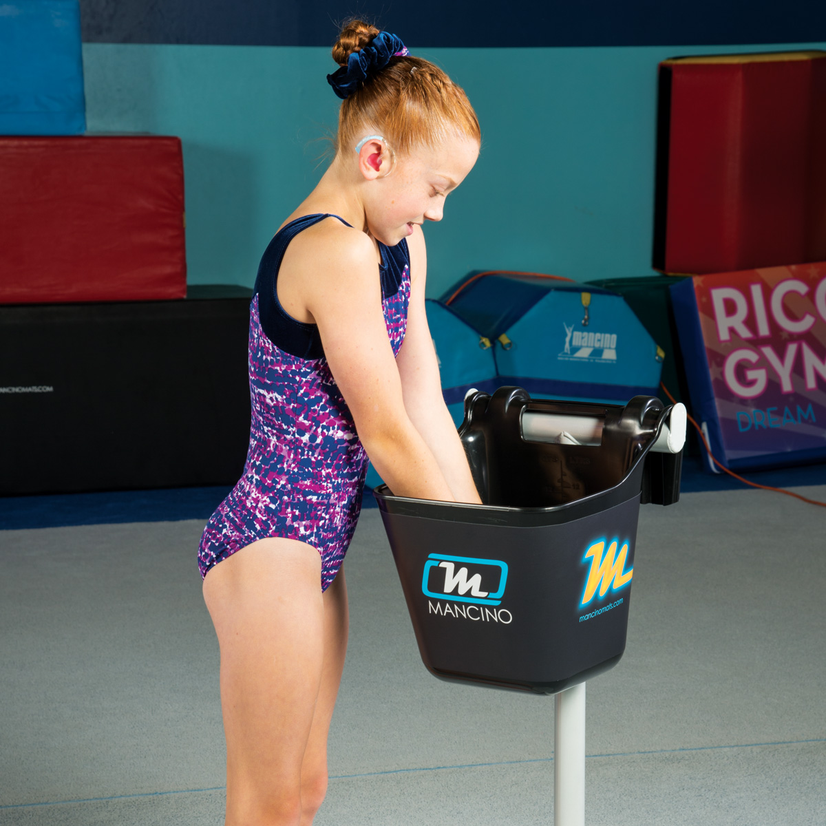 mancino gymnastics chalk stand girl gymnast
