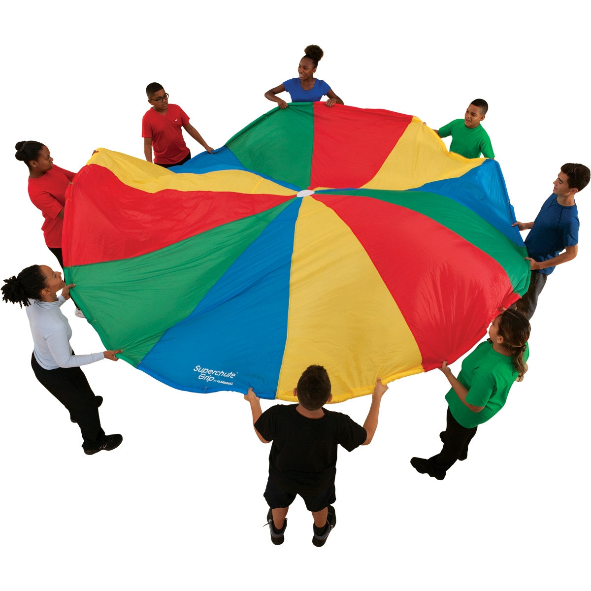 large multicolor gym parachute with students holding it