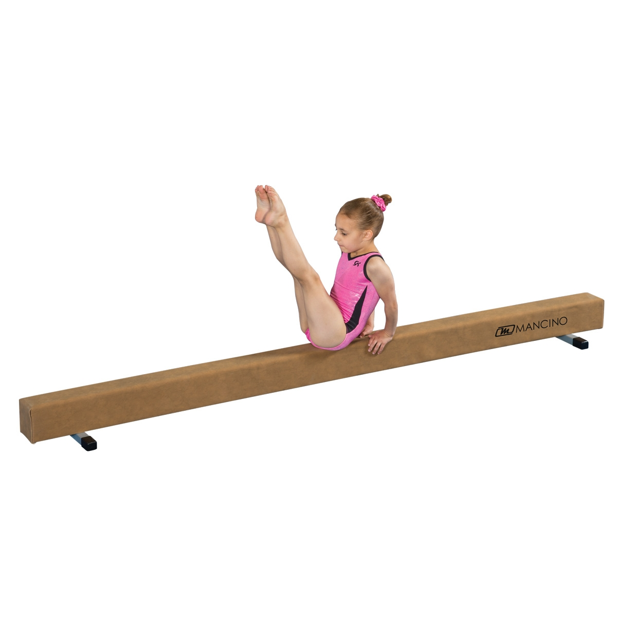 Mancino 8' Low Suede balance Beam with gymnast
