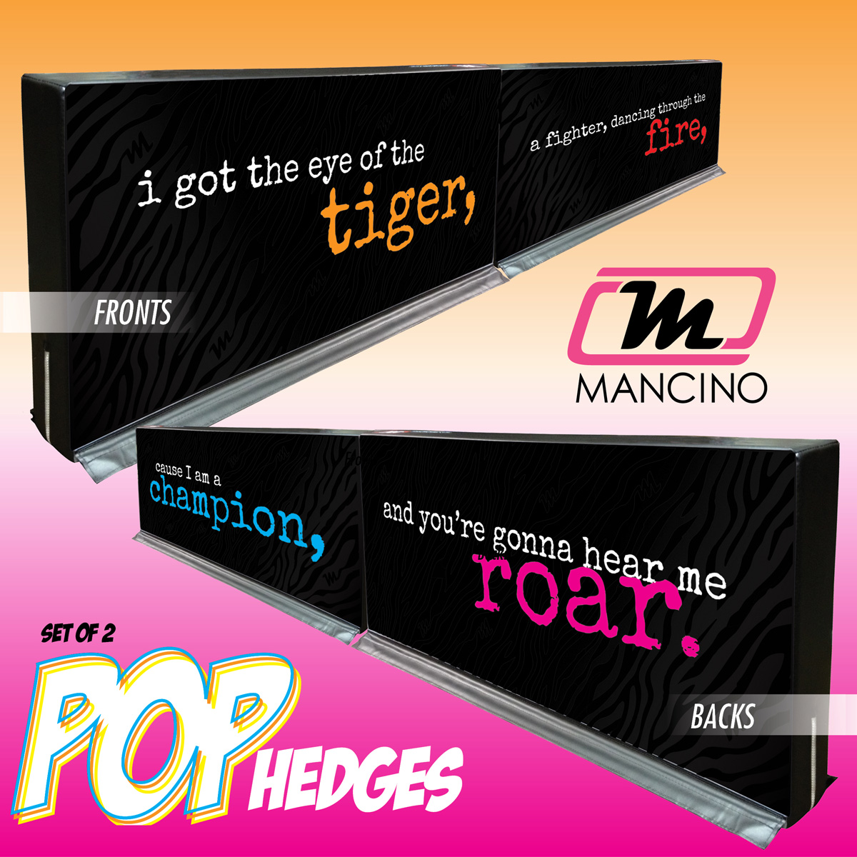 mancino mats pop lyric hedges tiger roar set for gyms