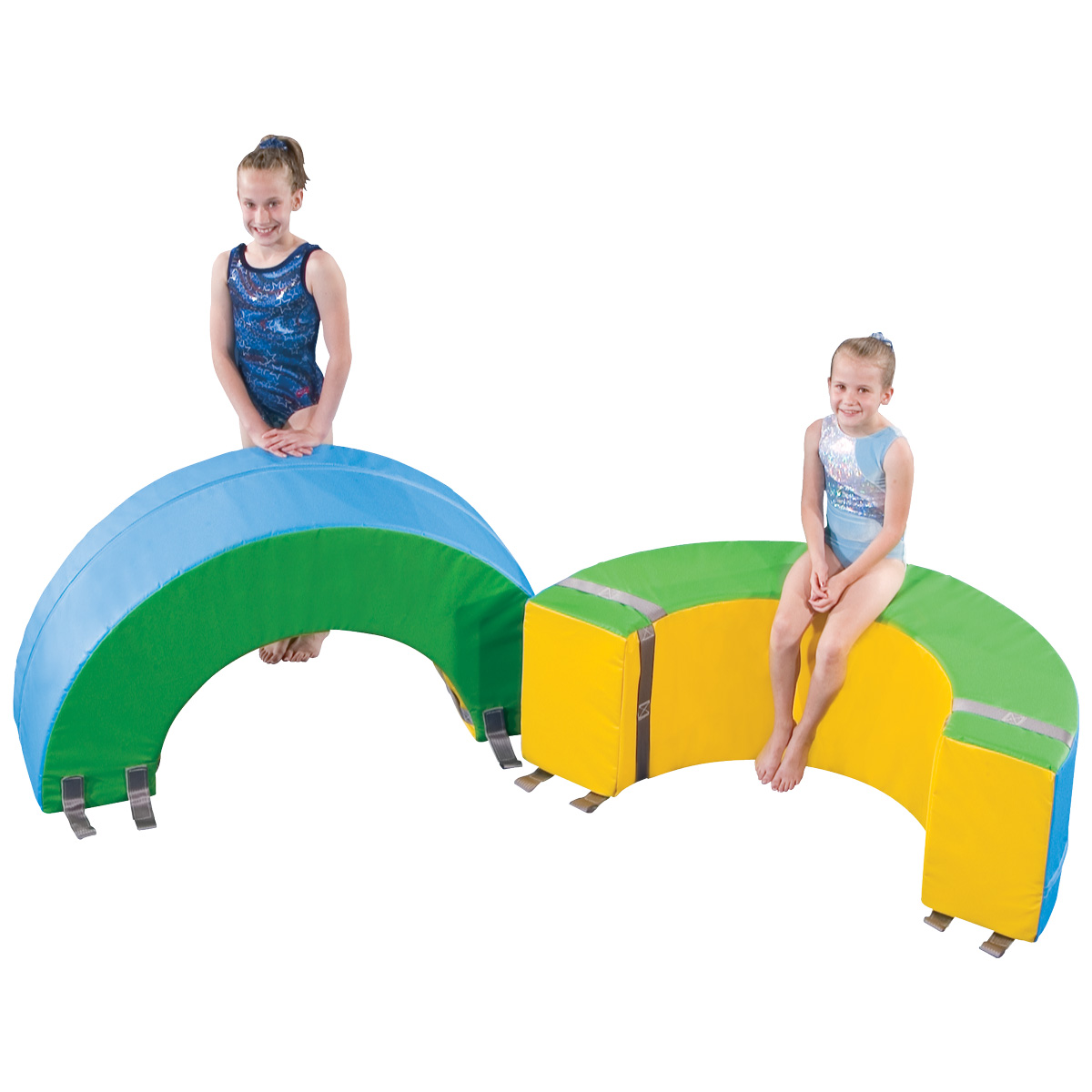 gymnasts with donut mats set
