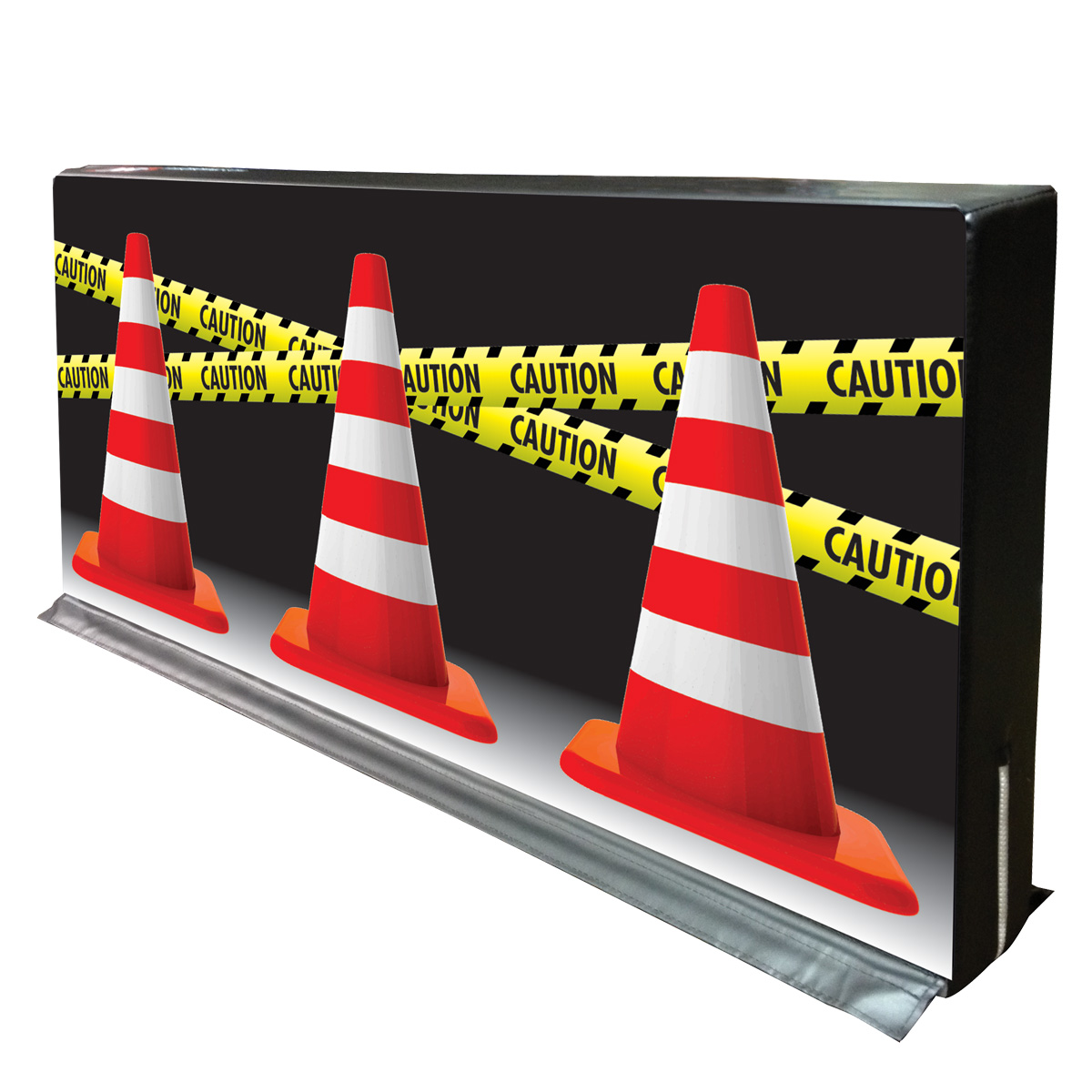 traffic cones and caution tape hedge divider wall by mancino