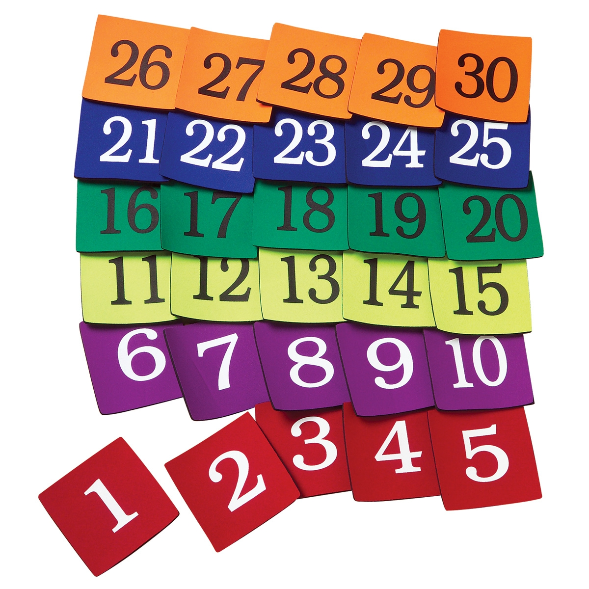 poly spot set of colorful square numbers 1 through 30
