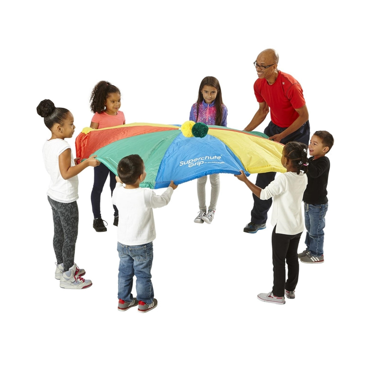 parachute being played with by students and gym teacher