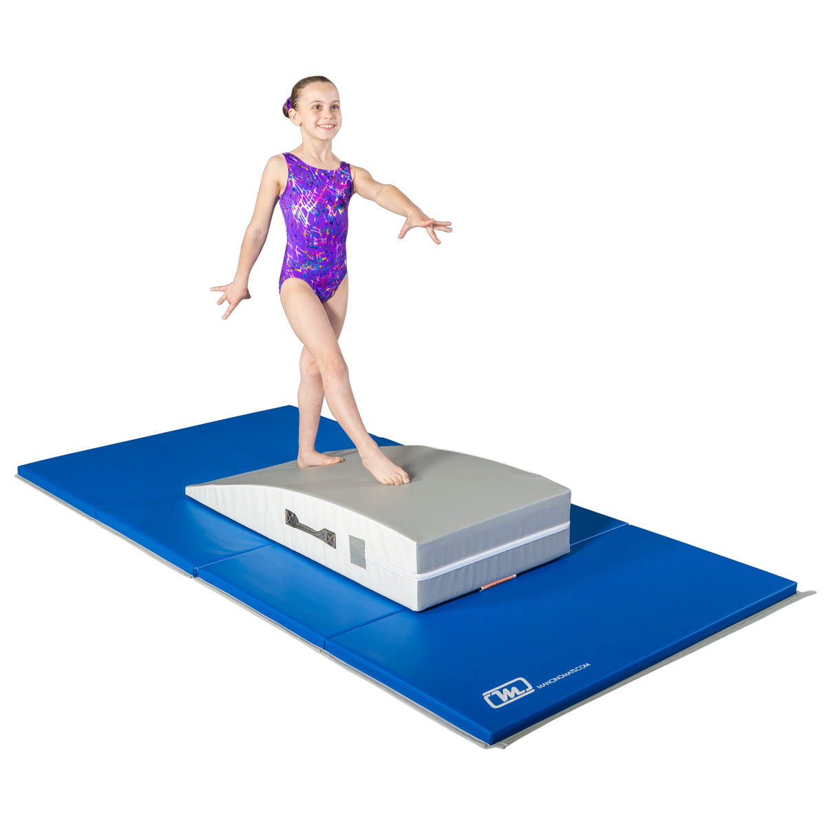gymnast on folding panel mat with mount block