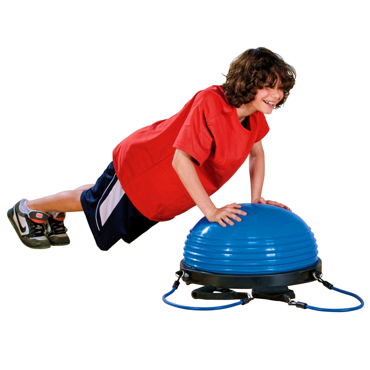 boy doing a push up on blue balance dome trainer
