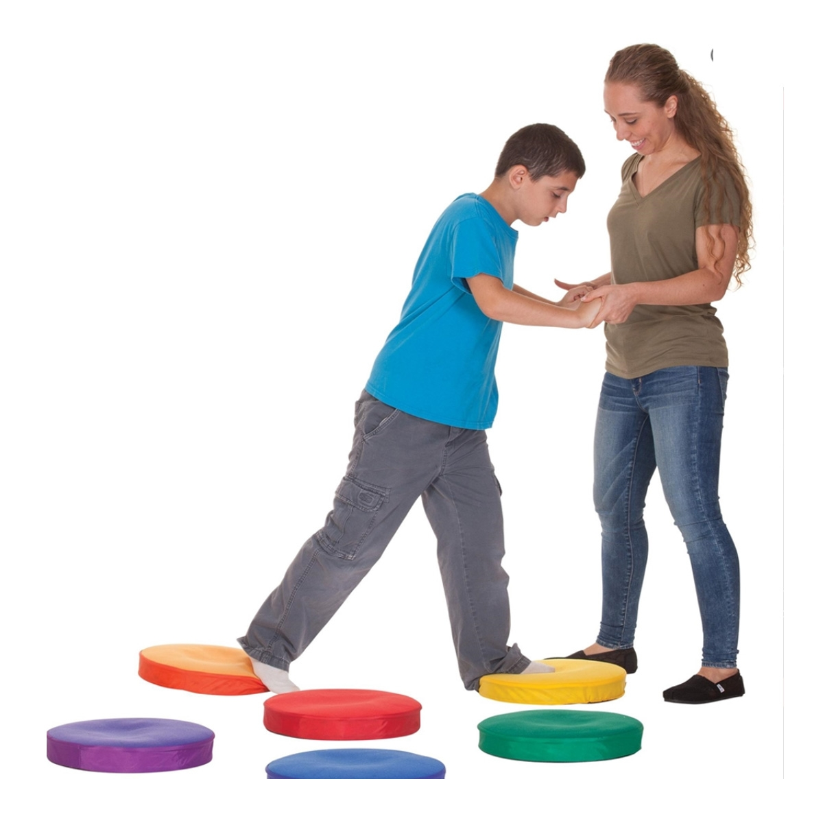 sensory step pads with student and teacher