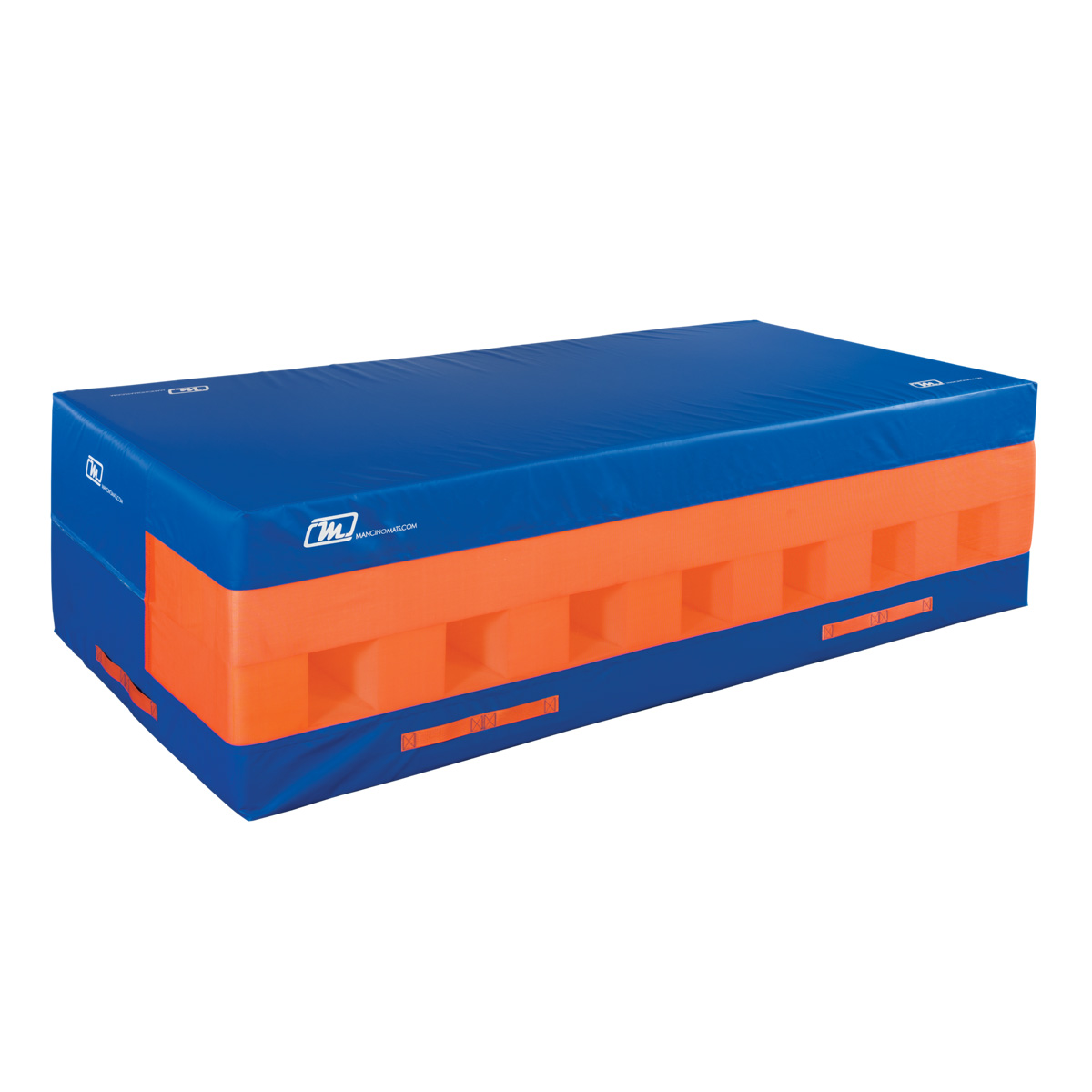 blue and orange safety resi pit for landings and falls - resi pit - mancino mats
