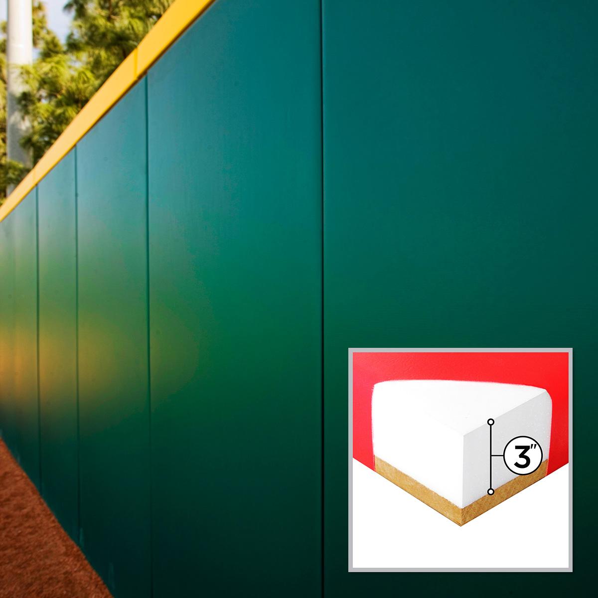 green and yellow stadium wall padding in rancho cucamonga california