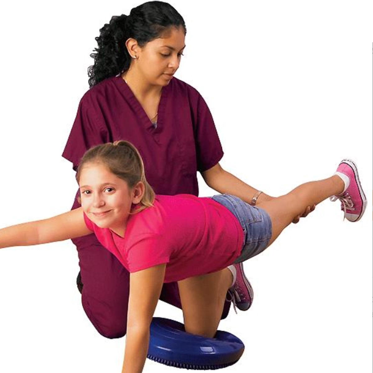 physical therapist with student working on core strength with rubber disc