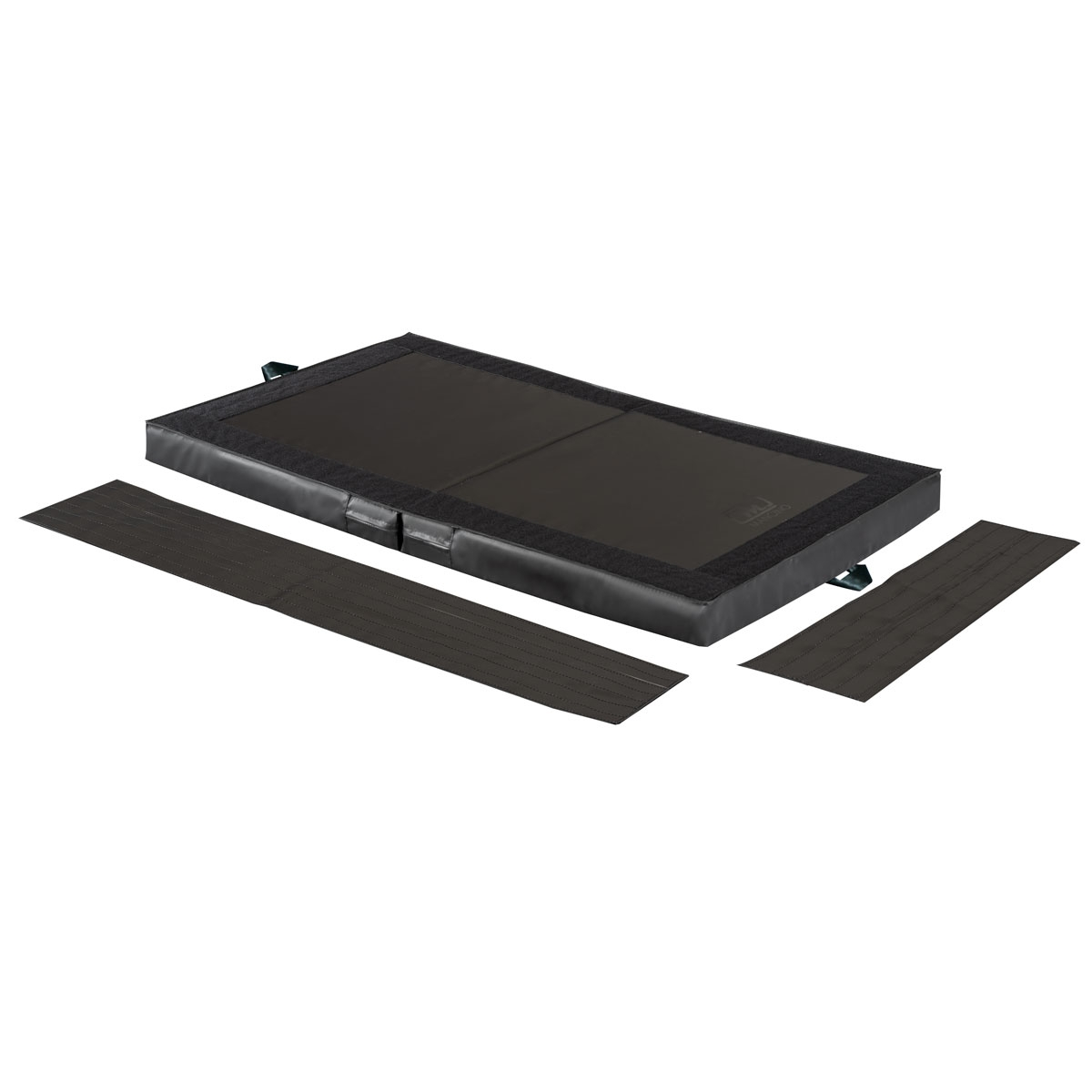 black stunt suicase mat with attaching velcro strips