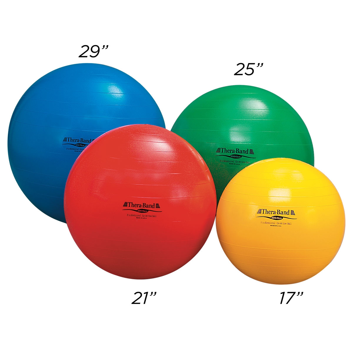 thera-band set of exercise balls at different sizes from mancino
