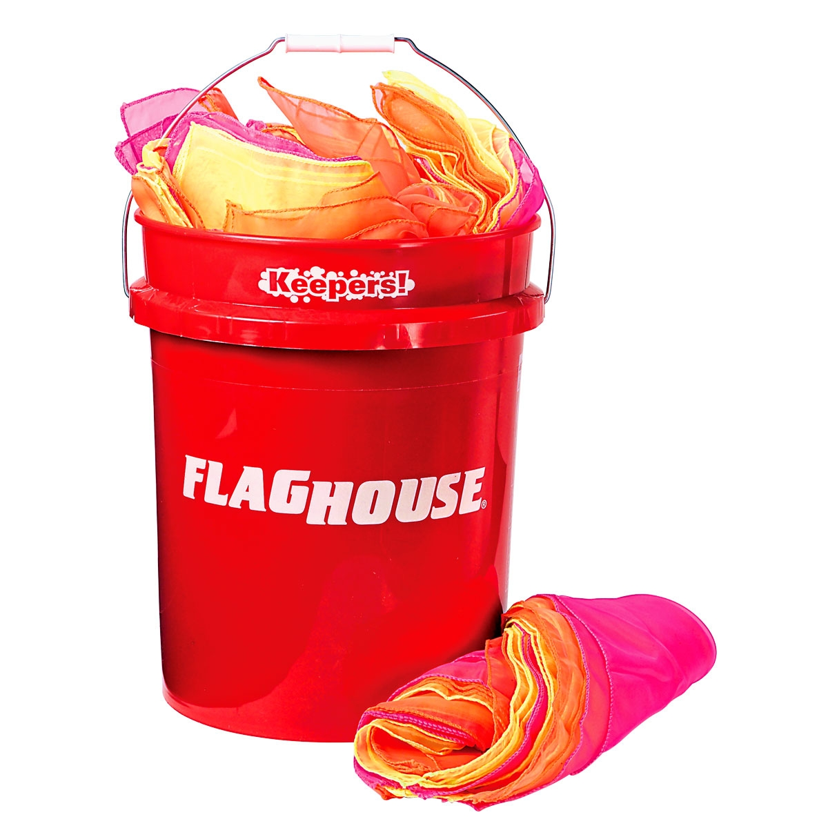 tosser scarves set for gym classes in red storage bucket | mancino mats