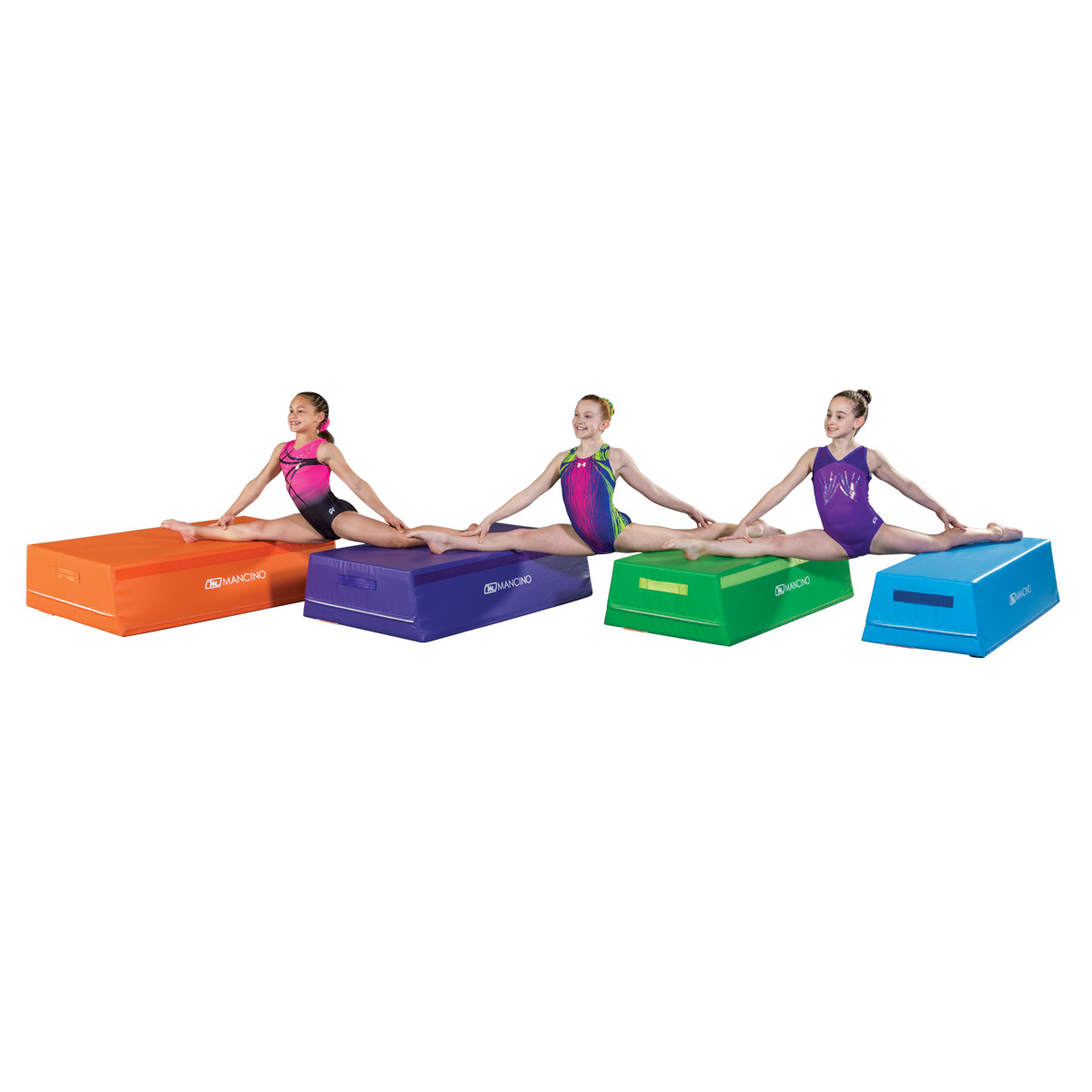 3 gymnasts doing splits on 4 sections of a trapezoid training shape