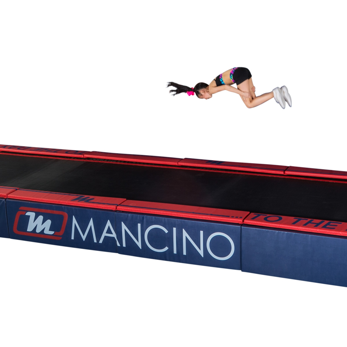 mancino mats cheerleader on tumbl trak with side skirt pads - Tumbl Trak Padded Side Skirt Panels | Cheer | Mancino Mats