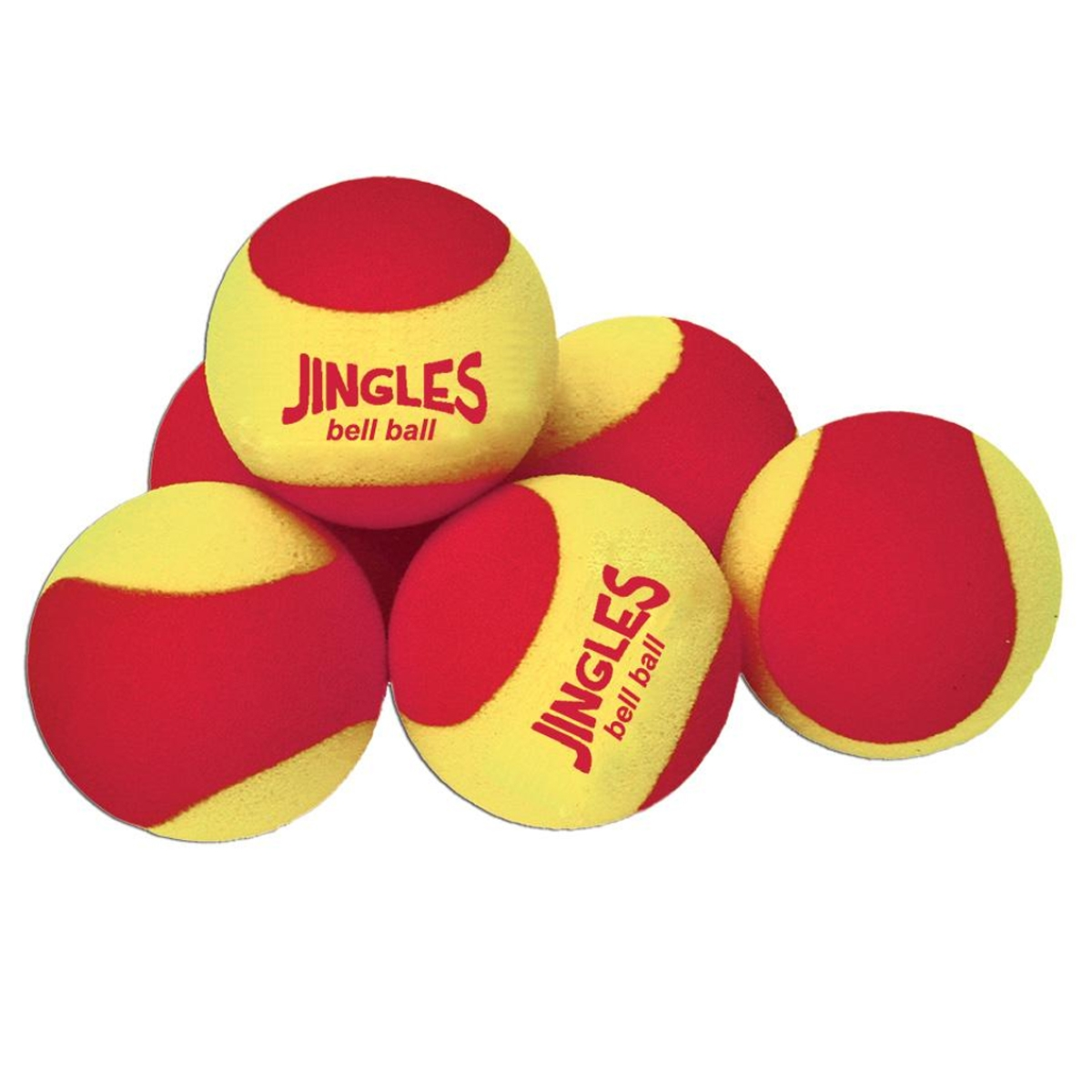 jingles bell ball set of 6 yellow and red tennis balls