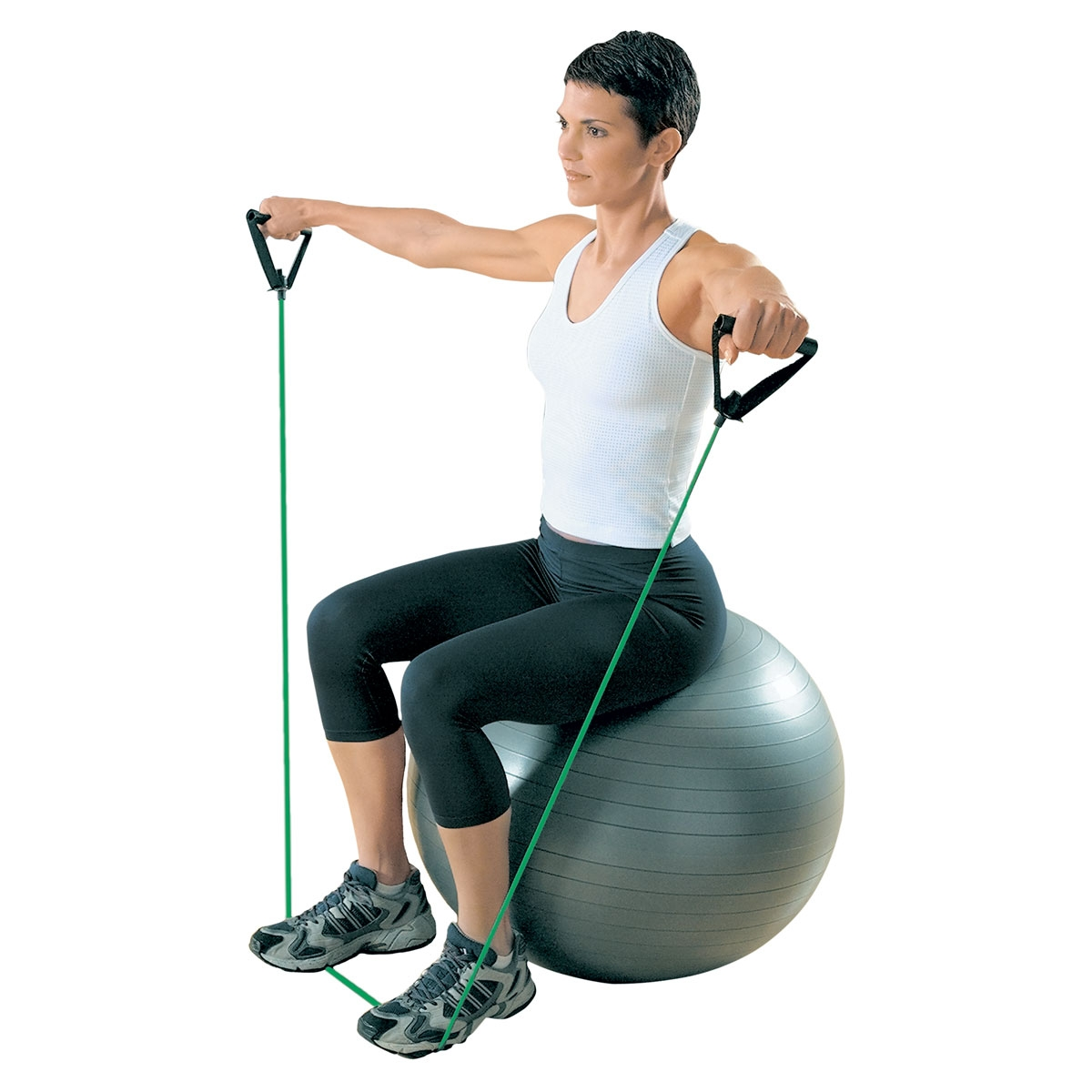 woman exercising on yoga ball xertube resistance band