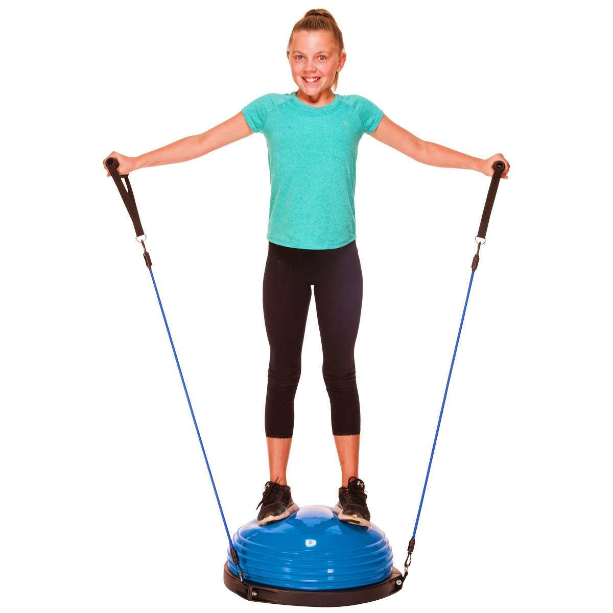 girl doing shoulder exercises on blue balance dome trainer with arm straps