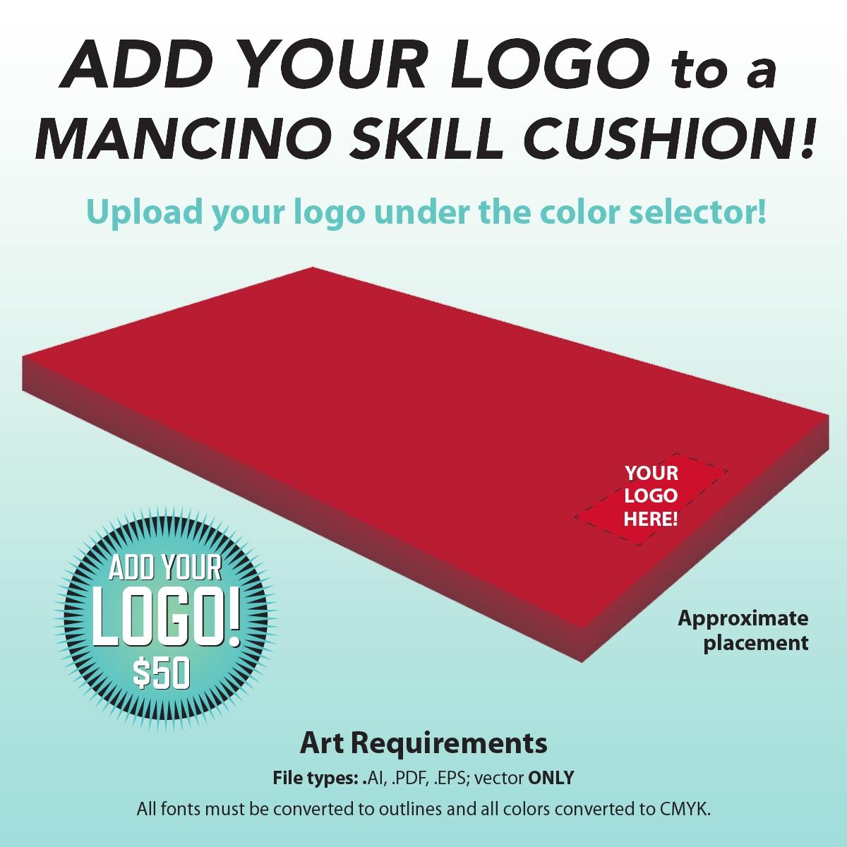 add your logo to a mancino skill cushion